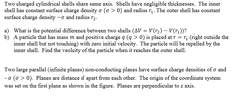 Two charged cylindrical shells share same axis. Sh