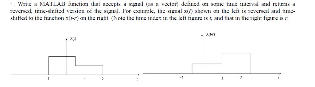Write a MATLAB function that accepts a signal (as