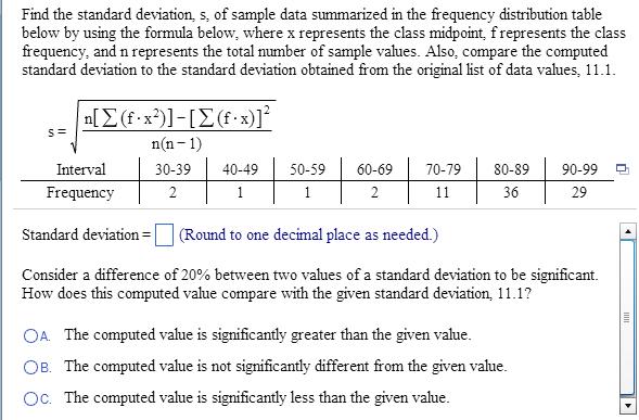 Find The Standard Deviation, S, Of Sample Data Sum... | Chegg.com
