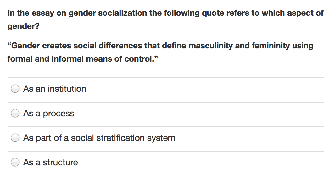 essays about gender socialization