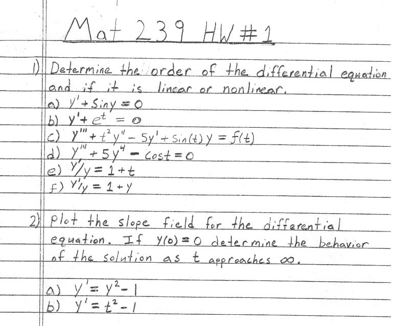 Determine the order of the differential equation a