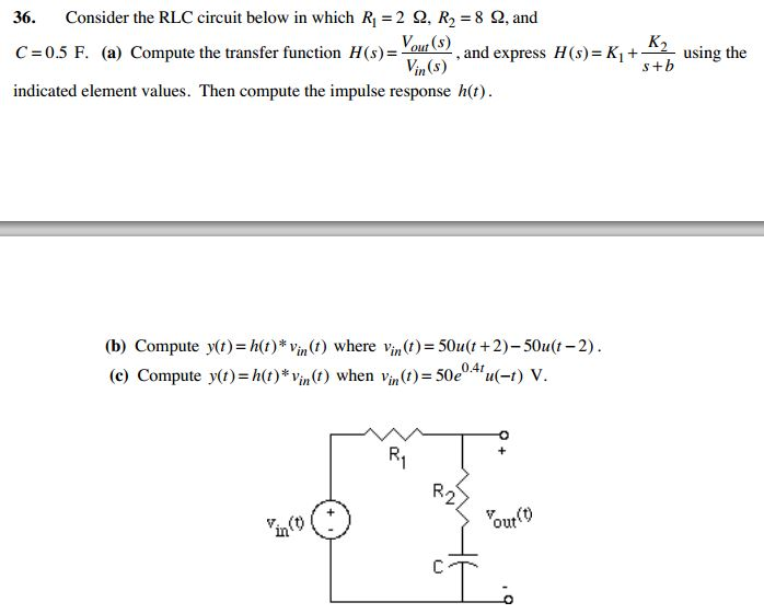 Consider the RLC circuit below in which R1=2 Ohm.