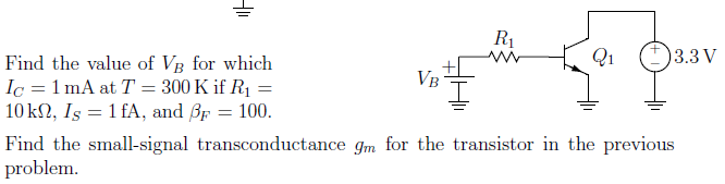 Find the value of Vg for which IC = 1 mA at T = 3