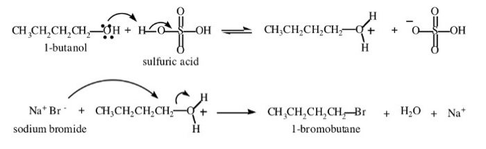 sn2 reaction 1 bromobutane Preparation of 1-bromobutane the mechanism is s n 2 the overall reaction is: h 2 so 4 + nabr + ch 3 ch 2 ch 2 ch 2 oh 6 ch 3 ch 2 ch 2 ch 2 br + h 2 o + nahso 4.