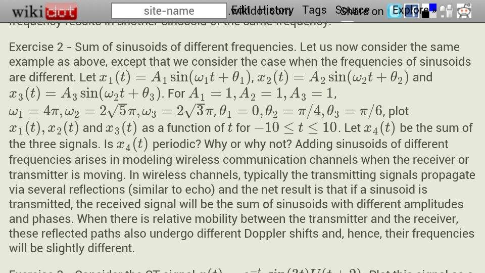 Sum of sinusoids of different frequencies. Let us