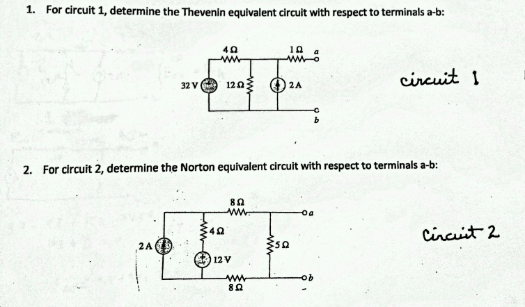 For circuit 1, determine the Thevenin equivalent c