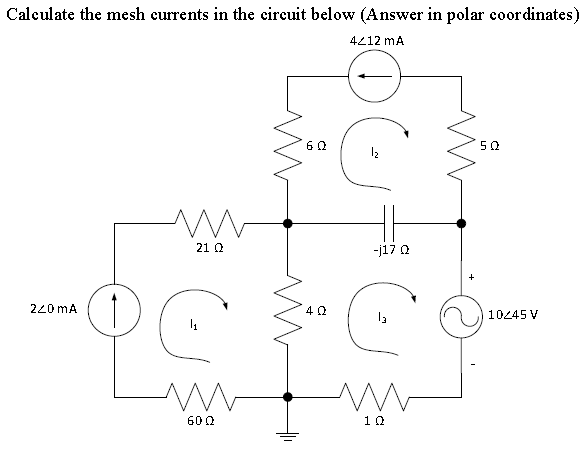 Calculate the mesh currents in the circuit below (