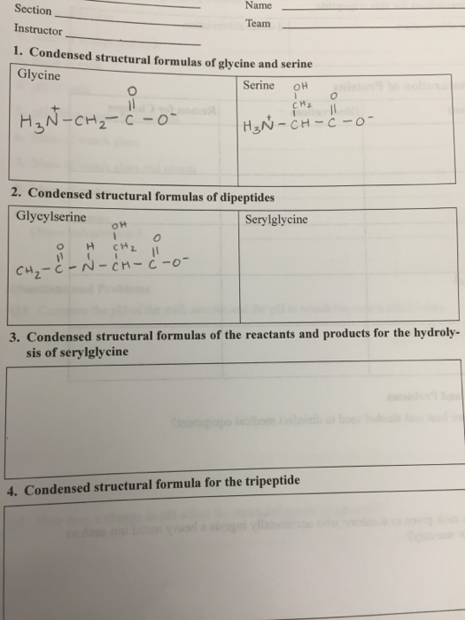 solved condensed structural formulas of glycine and serin