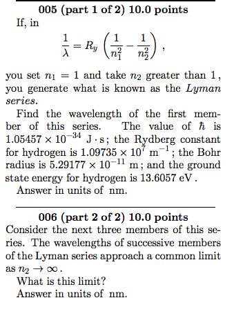 Figure 28.47 (c28p47) The Lyman series for a (new!? one-