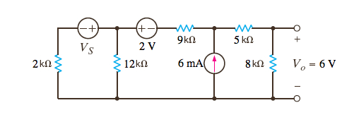 Given that Vo = 6 V in the network in the Figure,