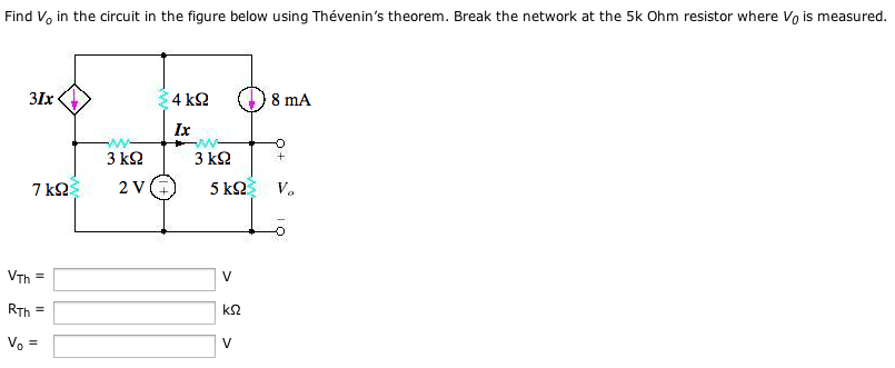 Find V0 in thy circuit in the figure below using T