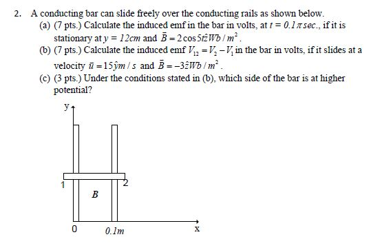 A conducting bar can slide freely over the conduct