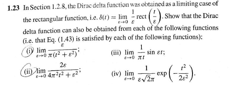 In Section 1.2.8, the Dirac delta function was obt