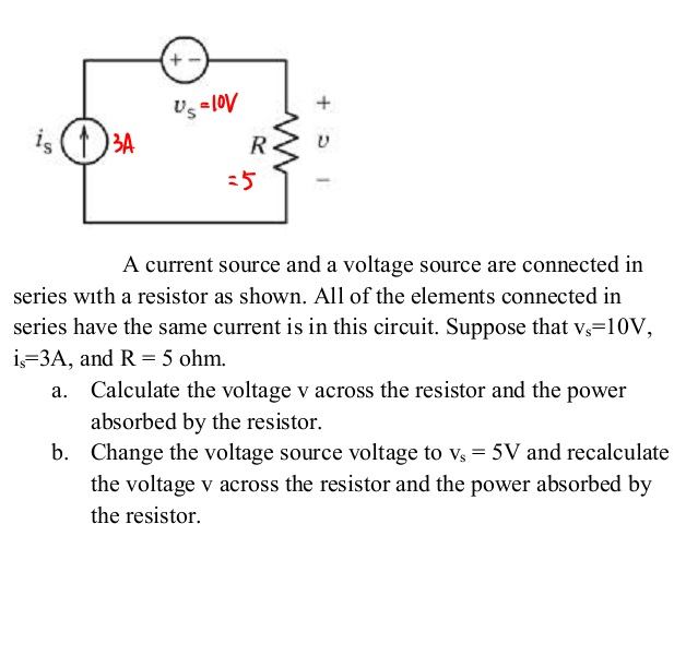 A current source and a voltage source are connec