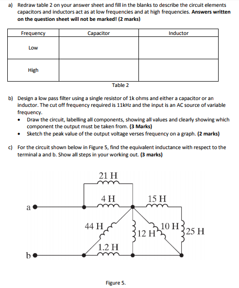 Solved: A) Redraw Table 2 On Your Answer Sheet And Fill In ...