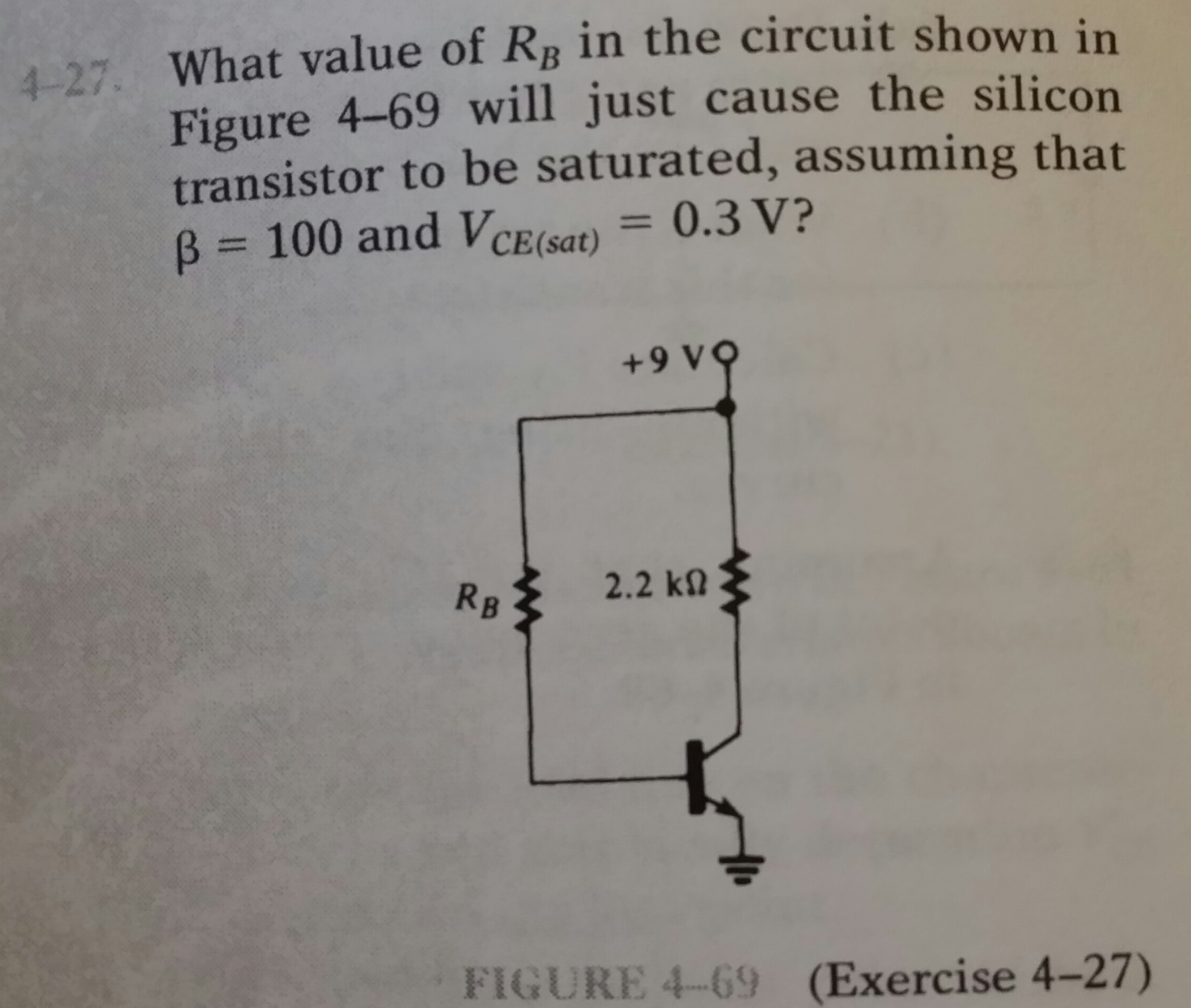 What value of RB in the circuit shown in Figure 4-