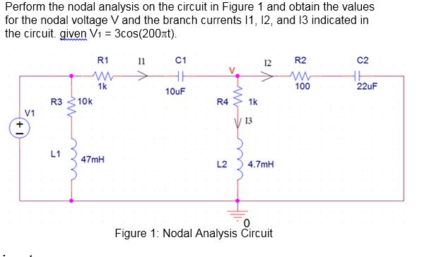 Perform the nodal analysis on the circuit in Figur