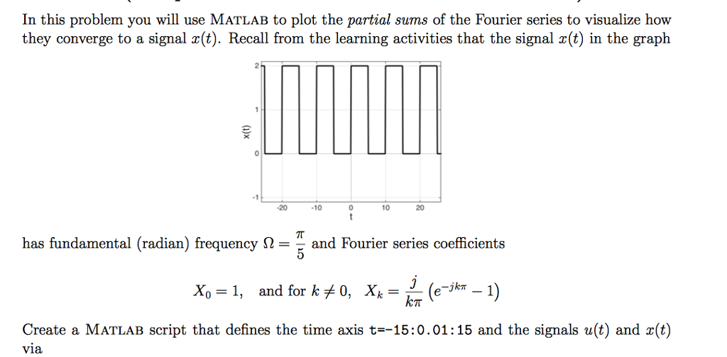 In this problem you will use matlab to plot the pa chegg in this problem you will use matlab to plot the partial sums of the fourier series ccuart Gallery