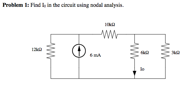 Find I0 in the circuit using nodal analysis.