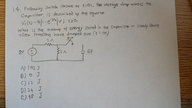 Following switch closure at t = os, the voltage dr