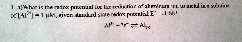 What is the redox potential for the reduction of a
