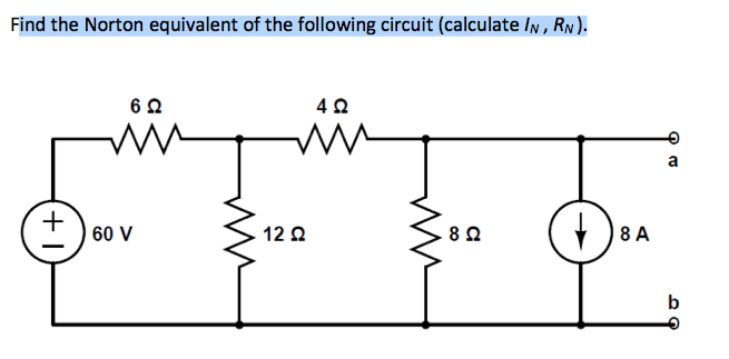 Find the Norton equivalent of the following circui
