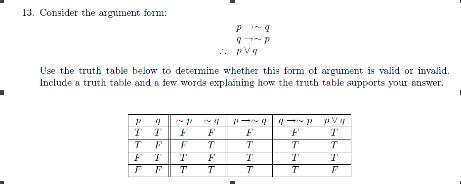 Consider The Argument Form: P Rightarrow~q Q Right... | Chegg.com