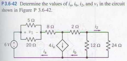 Determine the values of ia, ib, i2, and v1 in the