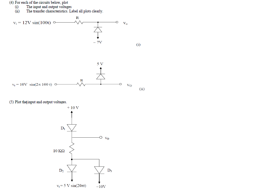 For each of the circuits below, plot The input an