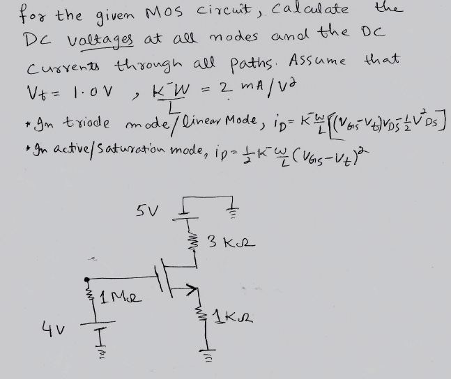 for the given MOS circuit, Calculate the DC voltag