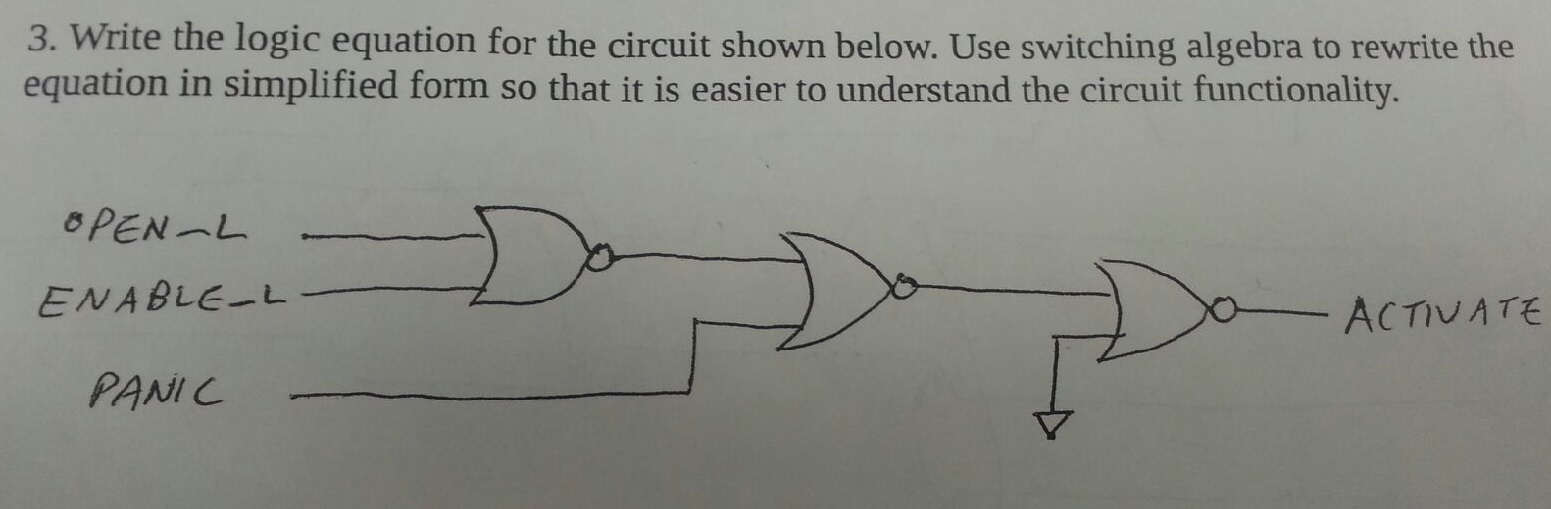 Write the logic equation for the circuit shown bel