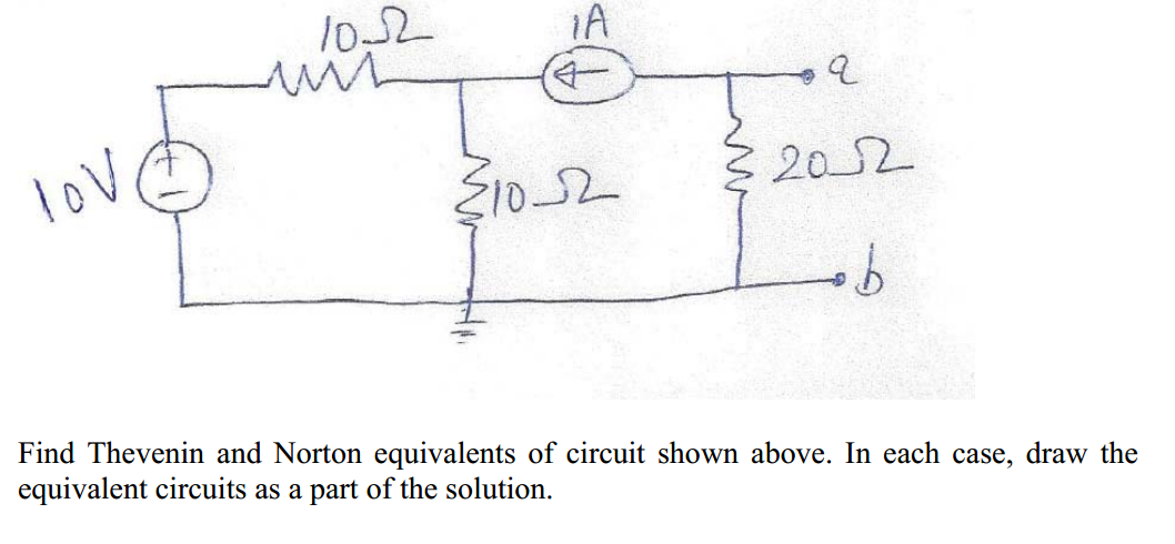 Find Thevenin and Norton equivalents of circuit sh