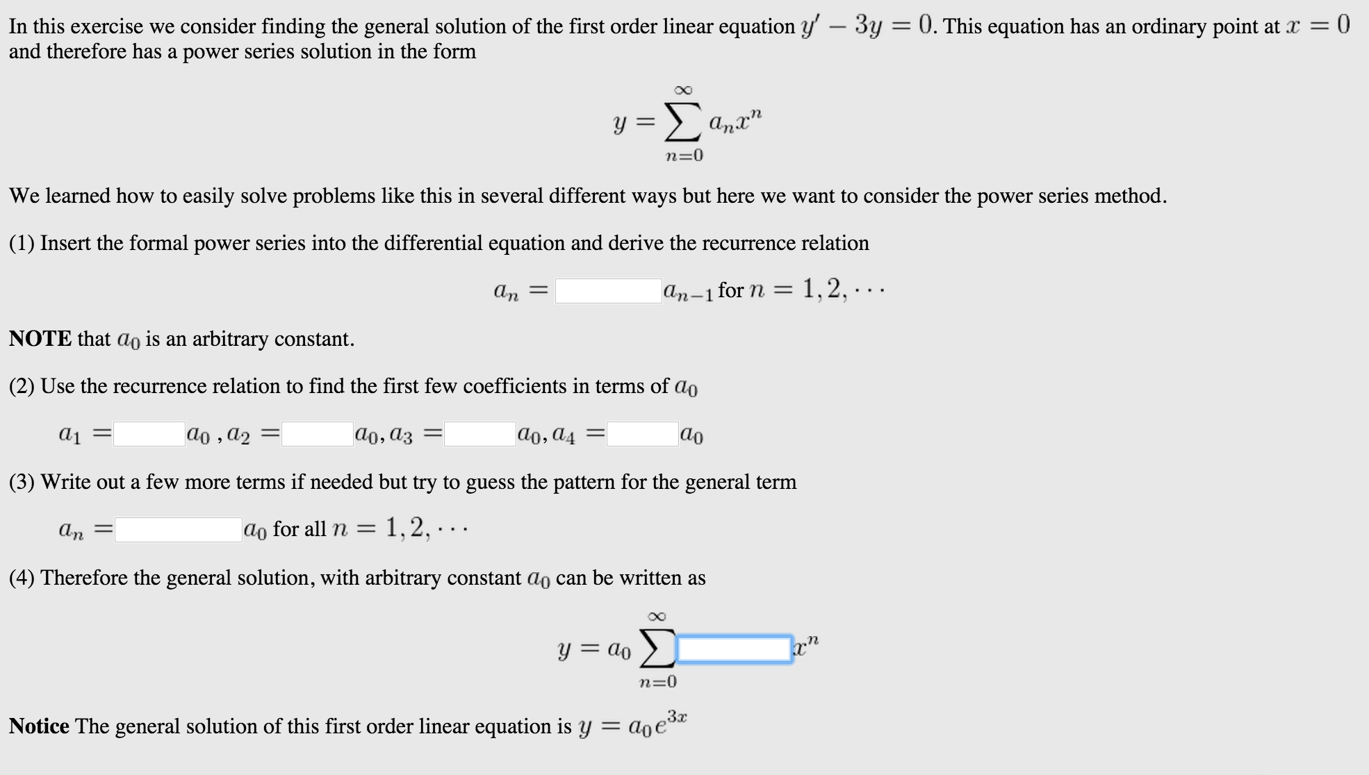 Show Transcribed Image Text In This Exercise We Consider Finding The  General Solution Of The First Order Linear Equation Y'  3y = 0