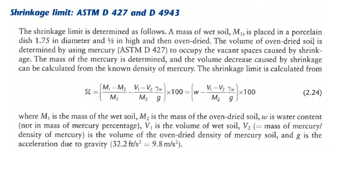 Shrinkage limit: ASTM D 427 and D 4943 The shrinkage limit is determined as follows