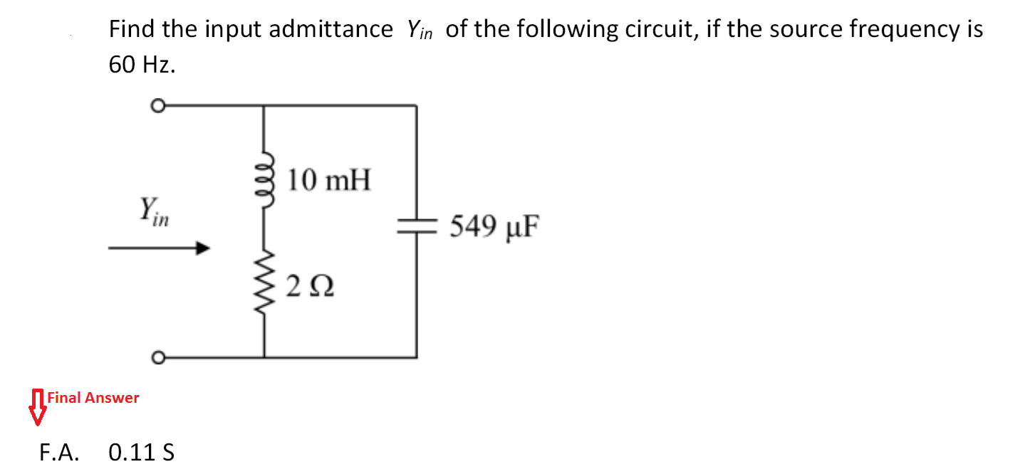 Find the input admittance Yin of the following cir