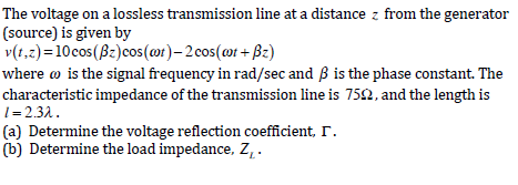 The voltage on a lossless transmission line at a d