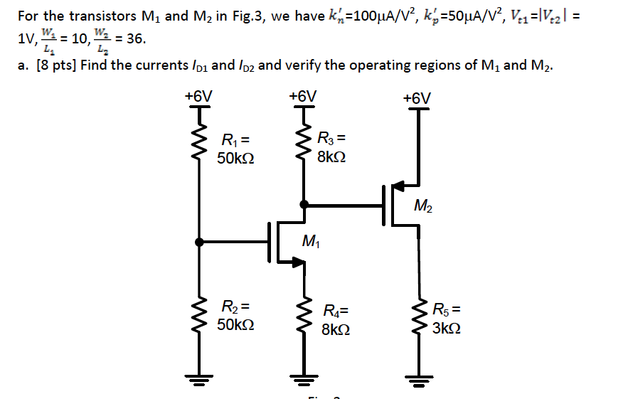 For the transistors M1 and M2 in Fig.3, we have k'