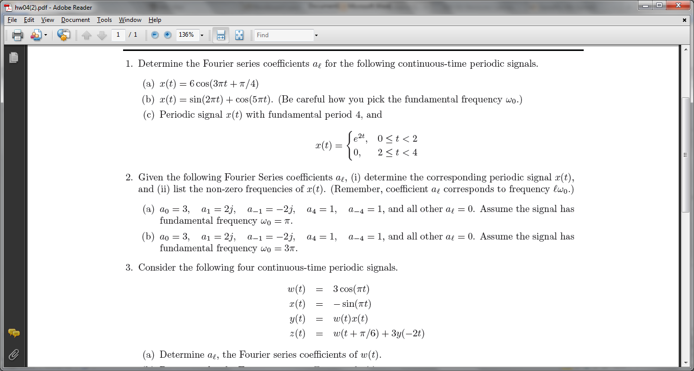 Determine the Fourier series coefficients a for t