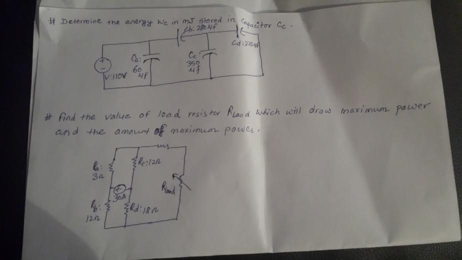 Determine the energy Wc in MJ stored in capacitor