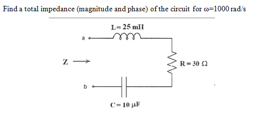 Find a total impedance (magnitude and phase) of th