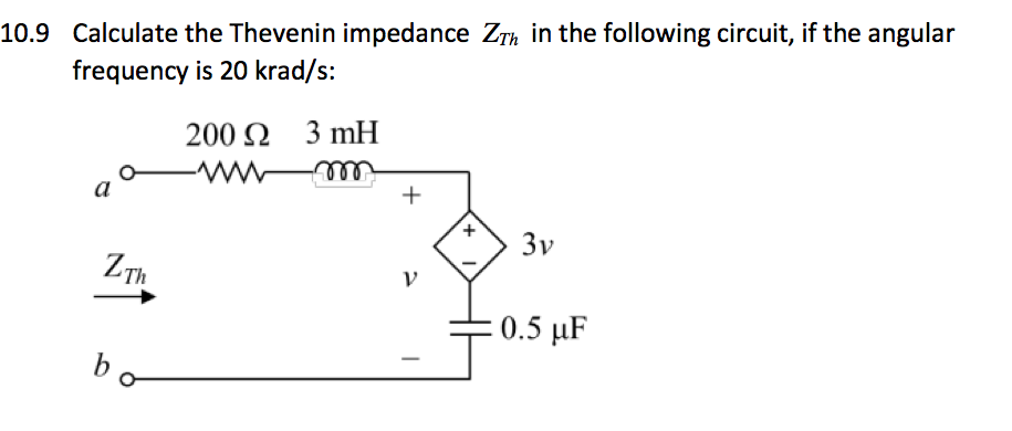 Calculate the Thevenin impedance ZTh in the follow