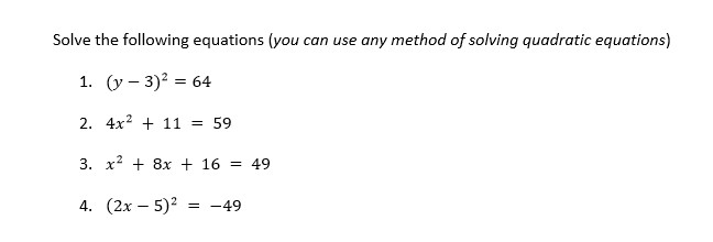 Solve the following equations (you can use any met