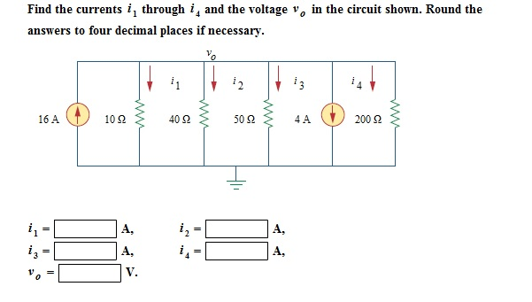 Find the currents i1 through i4 and the voltage v0