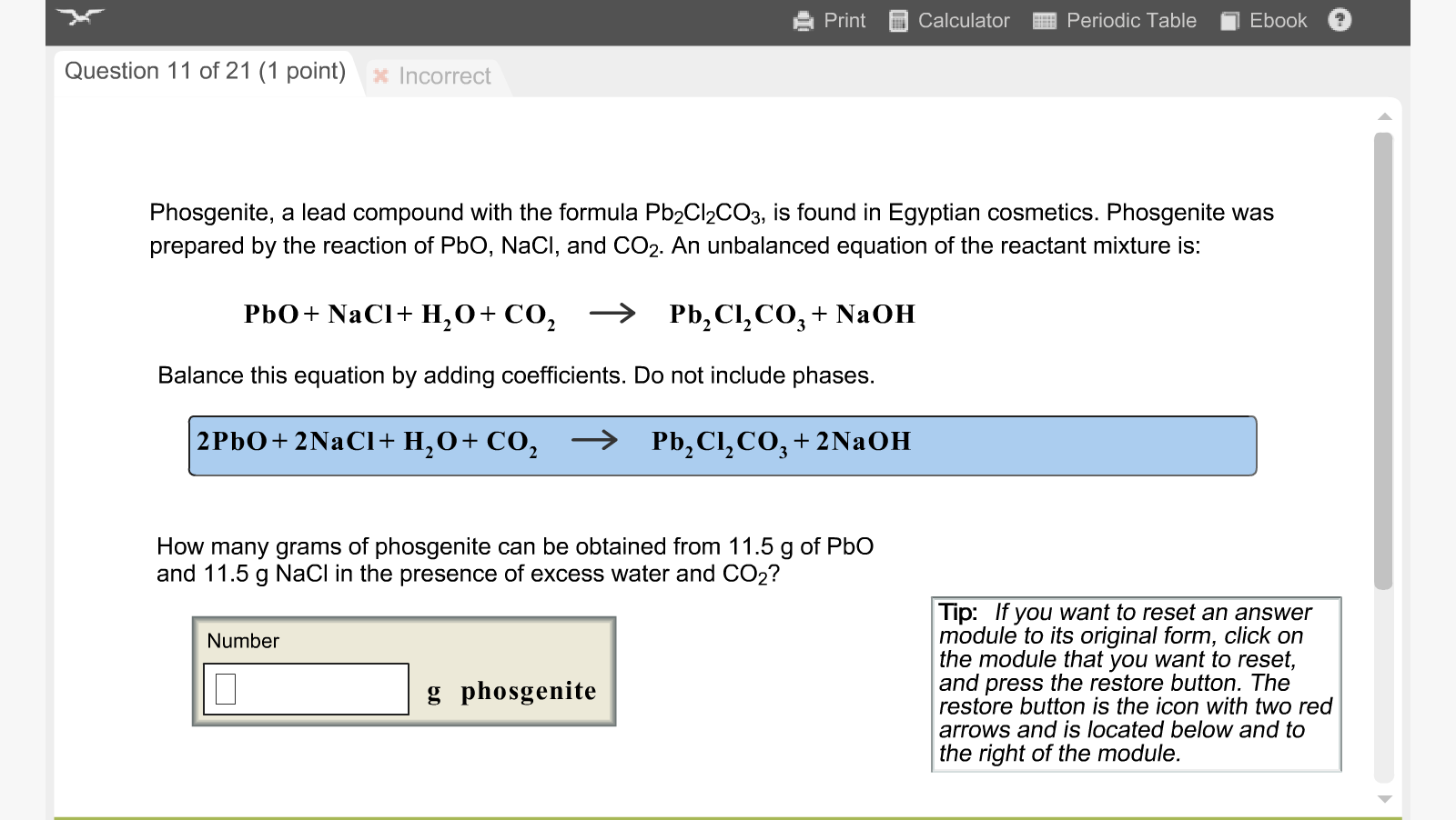 Phosgenite a lead compound with the formula pb2cl chegg print alculator periodic table ebook question 11 of 21 1 point x incorrect gamestrikefo Choice Image