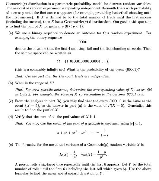 Solved Geometricp Distribution Is A Parametric Probabil