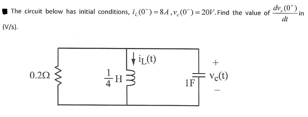 The circuit below has initial conditions, iL (0-)