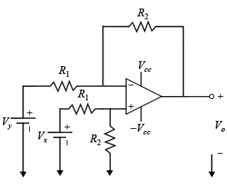 Design of a difference op-amp circuit For the cir