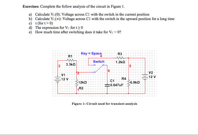Complete the follow analysis of the circuit in Fig