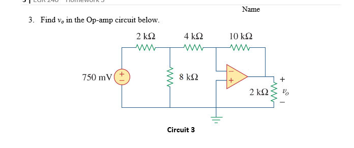 Find v0 in the Op-amp circuit below.