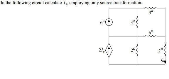 In the following circuit calculate I0 employing on